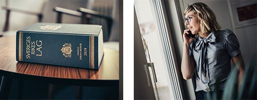 En lagbok på ett bord och Johanna i telefon.